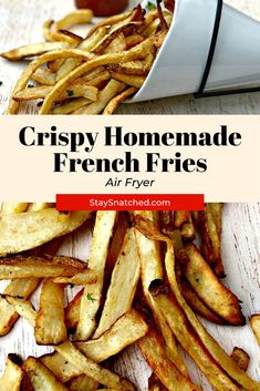 Easy Air Fryer Homemade Crispy French Fries is a quick, fresh recipe that resembles potato wedges. Healthy air fried French fries are made using little to no oil, making them low in calories. Air Fryer Dinner Recipes, Air Fry Recipes, Lunch Recipes, Beef Recipes, Real Food Recipes, Vegetarian Recipes, Healthy Recipes, Air Fry French Fries, Crispy French Fries