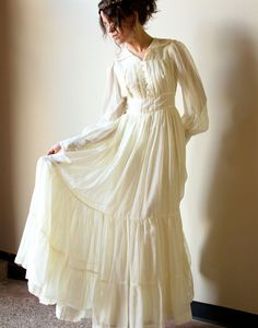 70s Gunne Sax Boho Wedding Dress - vintage ivory bone off-white cotton voile Bridal Gown, Fall hippie wedding gown, country prairie style. $170.00, via Etsy.