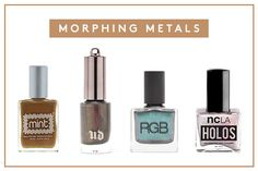 8 Radder-Than-Rad Winter Nail Trends #refinery29. Nail polishes from left to right: Mint Nail Polish in Buttered Rum (a warm bronze duo-tone delights) 12$, Urban Decay Nail Color in Blackheart (a smoky greige with red and multicolored shimmer) $15, RGB Cosmetics Nail Color in Dusk (a chameleon, gunmetal reflecting a multitude of undertones) $18, NCLA Holos Holographic Nail Polish in Vacation on Mars $18.