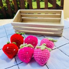 E I D G I F T S ��Strawberries�� Set of 6 crochet play food Strawberries in a wooden crate. This set makes for fun time in your child's kitchen play set. Help them learn and explore, can use them t