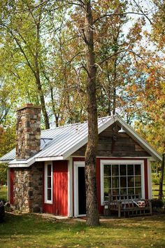 Red cottage house plans prestigious small rustic studio shed cabin graphy b Shed Cabin, Tiny House Cabin, Tiny House Living, Tiny House Plans, Tiny House Design, Cottage House, Cozy Cottage, Red Cottage, Cabin Design