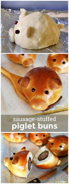 Sausage Stuffed Piglet Buns -- these cute lil' sausage-stuffed buns are super fun to bake and eat! Cute Food, Good Food, Yummy Food, Food Trucks, Kids Meals, Breakfast Recipes, Sausage, Food And Drink, Appetizers