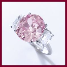 """The Historic Pink"" diamond. Sold for $15,903,422 at Sotheby's, this stone is believed to have been part of the collection of Princess Mathilde de Bonaparte, Napoleon I's niece; part of the murky provenance presumably has to do with the fact that it was kept in a bank vault since the 1940s."