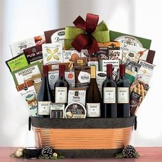 Wine Gift Baskets - Deluxe Office Party Wine Basket Wine Gift Baskets, Office Parties, Wine Parties, Wine Gifts, Fine Wine, Corporate Gifts, Treat Yourself, Favorite Holiday, Wine Rack