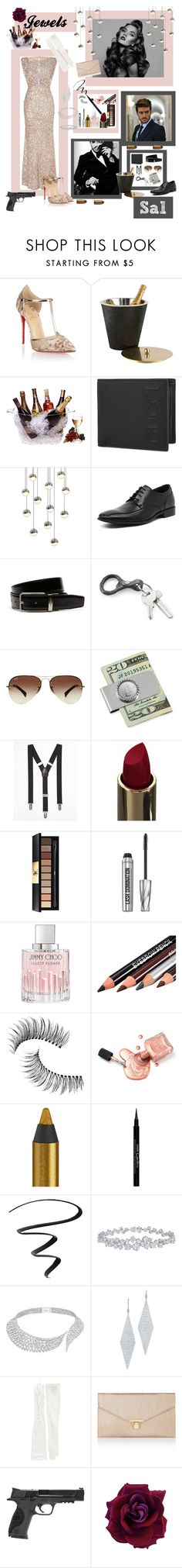 """Jewels and Sal - Mafia and Trophy Wife - 1969."" by rebeccaelizabethmattox ❤ liked on Polyvore featuring Christian Louboutin, Prodyne, Gucci, Sonneman, Julius Marlow, Lacoste, Ray-Ban, American Coin Treasures, Express and Yves Saint Laurent"