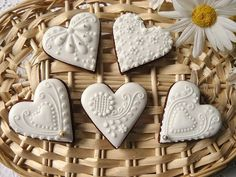 Gingerbread - hearts wedding white