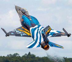 Helenic Air Force F-16C Zeus Military Jets, Military Aircraft, Fighter Aircraft, Fighter Jets, Hellenic Air Force, F 16 Falcon, Aircraft Painting, Airplane Art, Jet Plane