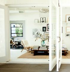 Amy Neunsinger {rustic scandinavian modern living room / patio} by recent settlers, via Flickr- doors