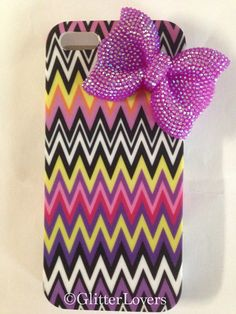 Chevron iPhone 5 case with purple bling bow on Etsy, $20.00