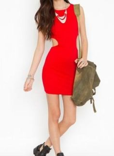 red cutout bodycon dress