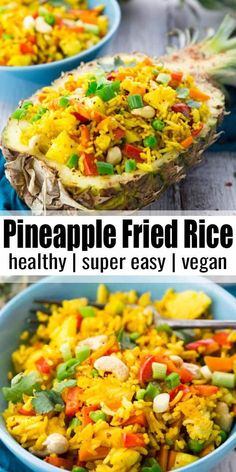Thai pineapple fried rice is one of my favorite vegan dinner recipes or one. - Food -This Thai pineapple fried rice is one of my favorite vegan dinner recipes or one. Rice Recipes Vegan, Vegan Dinner Recipes, Vegan Dinners, Indian Food Recipes, Appetizer Recipes, Beef Recipes, Healthy Recipes, Pineapple Dinner Recipes, Meat Appetizers