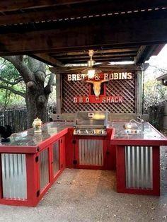52 DIY Outdoor Kitchen Design Ideas That You Can Try, Outdoor kitchen bars, Outdoor Kitchen Bars, Outdoor Kitchen Design, Outdoor Bars, Rustic Outdoor Kitchens, Outdoor Grill Area, Kitchen Decor, Outdoor Grill Station, Outdoor Cooking Area, Outdoor Kitchen Countertops
