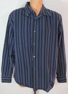 """CALVIN KLEIN"" MEN'S 100% COTTON BLUE STRIPED BUTTON FRONT SHIRT XL - SEE PICS #CALVINKLEIN #ButtonFront"