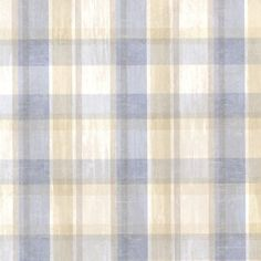 Brewster CTR215312 Laney Blue Sunday Plaid Wallpaper, Blue Plaid