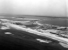 Pensacola Beach 1960 Aerial of Beach Another aerial shot of Pensacola Beach, 1960, looking north towards the bridge.