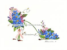 Breast Cancer Survivor - Forget Me Not Shoe - all prints enhanced with paint and signed.