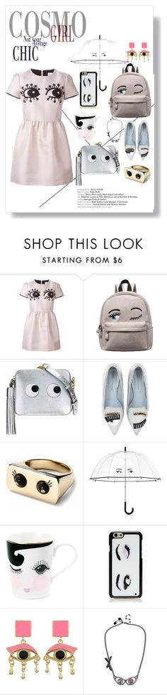 """eyes fashion"" by anya2991 on Polyvore featuring moda, RED Valentino, Anya Hindmarch, Chiara Ferragni, Kate Spade e Betsey Johnson"