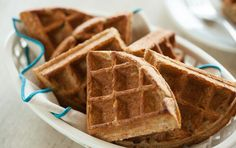 Whole Grain Toaster Waffles. Bake up a big batch of these healthy whole grain waffles, then keep them in the freezer for easy morning meals. Pop them in the toaster to reheat and achieve traditional waffle crispness.