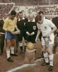 Vina del Mar, Chile, 1962; captains Mauro Ramos (Brazil) & Johnny Haynes (England) exchange before the World Cup quarter final