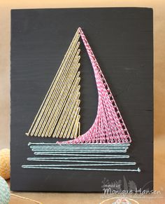 My mom made a string art ship that hung on our wall, I had a butterfly one in my room.
