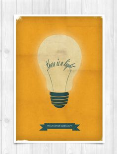 PRINT A3 - The Smiths - There is a light that never goes out  - Music Concept POSTER - Bulb. $22.00, via Etsy.