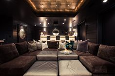Alice Lane Home: Gray basement home theatre with charcoal velvet Mitchell Gold + Bob Williams Dr. Pitt ...