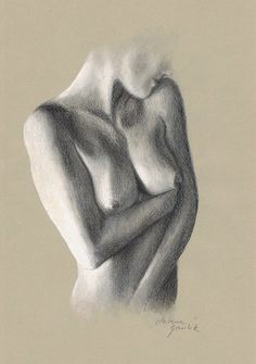 ORIGINAL DRAWING - Female nude 22 by Milena Gawlik, pencils on grey paper, artistic drawing of  naked woman