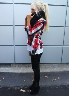 I just love this whole outfit! No heels though, some sort of boots! :)  Agreed!!
