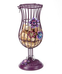 Take a look at this Purple Metal Floral Wine Cork Holder by Dennis East International on #zulily today!