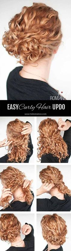 easy updo hairstyle tutorial for curly hair Hair Romance - Curly Hair Tutorial - easy curly updo. Yesssss this will do fine for everydayHair Romance - Curly Hair Tutorial - easy curly updo. Yesssss this will do fine for everyday Updo Hairstyles Tutorials, Up Hairstyles, Hairstyle Tutorials, Natural Hairstyles, Everyday Hairstyles, Hairdos, Vintage Hairstyles, Easy Curly Updo, Messy Updo