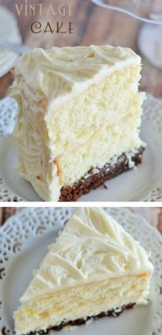 This Vintage Cake combines two layers of white cake, with a surprise brownie…