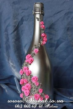 decorative wine bottle by themintdeco Glass Bottle Crafts, Wine Bottle Art, Painted Wine Bottles, Diy Bottle, Bottles And Jars, Wrapped Wine Bottles, Bottle Centerpieces, Altered Bottles, Art N Craft