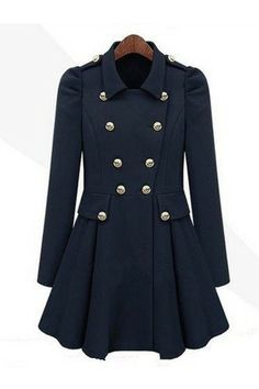 Stylish Puff Sleeves Double Breasted Coat [FEBK0099]- US$92.79 - PersunMall.com