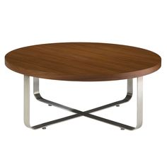 Artesia Round Cocktail Table with Walnut Stain Top on Satin Nickel Base by Allan Copley Designs