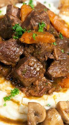 Julia's Beef Bourguignon and Garlic Mashed Potatoes