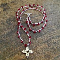 """Silver Heart Cross, Crochet Necklace, """"Gypsy Love"""" Jewelry $32.00"""