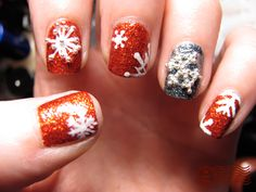 Yes it's cold, but that doesn't mean your nails can't look red hot! -- another fab snowflake mani