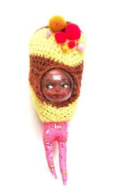 Honey Dear, a mixed media doll with crochet by Bee Harris