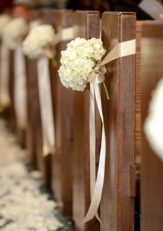 ..with Gray and pink ribbons ♥ Simple Church Wedding c9ad07352