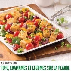 Tofu, edamames et légumes sur la plaque - 5 ingredients 15 minutes Pasta Salad, Cobb Salad, Mets, Vegetarian, Favorite Recipes, Lunch, Vegan, Ethnic Recipes, Vegetarische Rezepte