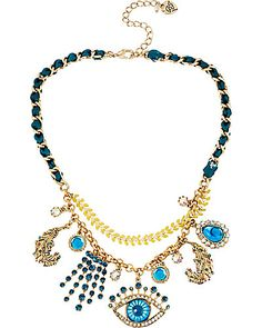 THE EYES HAVE IT SHAKY FRONTAL NECKLACE MULTI -$60.00