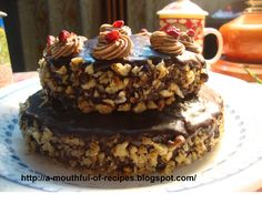 A Mouthful Of Recipes: Two Tier Chocolate - Walnut Cake With Choco Frosting