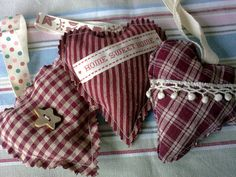 3 heart shabby chic Christmas decorations by TheHomemadeHaven, £4.95