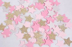 150 Pink and Gold Glitter Star Birthday Confetti, Twinkle Twinkle Little Star Party, Small Stars Confetti, Party Decorations, Baby Shower