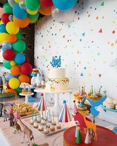 Dessert table I styled for a repeat client - animal parade + confetti theme. Happy first birthday Noah! Photography by balloon arch by cake topper by For dessert table enquiries contact Carnival Birthday Parties, Circus Birthday, Animal Birthday, First Birthday Parties, Birthday Party Themes, Birthday Ideas, Colorful Birthday Party, Colorful Party, Circus Party