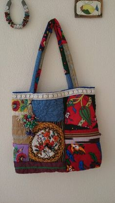 Etnik çanta Knitted Bags, Cloth Bags, Baggage, Purses And Bags, Sewing Crafts, Diy And Crafts, Recycling, Fashion Accessories, Handbags