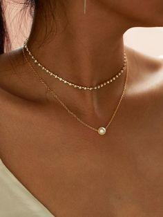 SheIn - SheIn Faux Pearl Pendant Rhinestone Choker Necklace 2pcs - AdoreWe.com