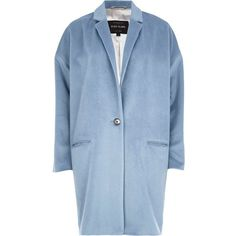 River Island Light blue oversized coat (£40) ❤ liked on Polyvore featuring outerwear, coats, blue, sale, oversized coat, river island, light blue coat and blue coat
