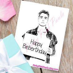 Justin Bieber Card Funny Birthday Card. by PinkyPinkPaula on Etsy