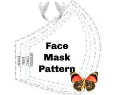No Sew Face Mask Pattern, EASY DIY Download No Sewing, 3 Sizes Reusable Washable Adjustable Reversible Printable Bestseller Template Face Mask Pattern EASY Downloadable DIY No Sewing 3 Sizes | Etsy<br> Easy Diy, Printable, Templates, Sewing, Face, Pattern, Etsy, Models, Stenciling